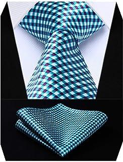 S/&W SHLAX/&WING Cravatta Sets per uomo Navy Blu scacchi Classic Lungo