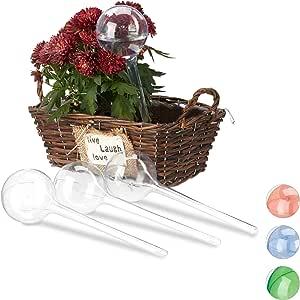 Relaxdays Bewässerungskugeln, 4er Set, Dosierte Bewässerung, 2 Wochen, Versenkbar, Topfpflanzen, Kunststoff, Transparent, PVC, Standard
