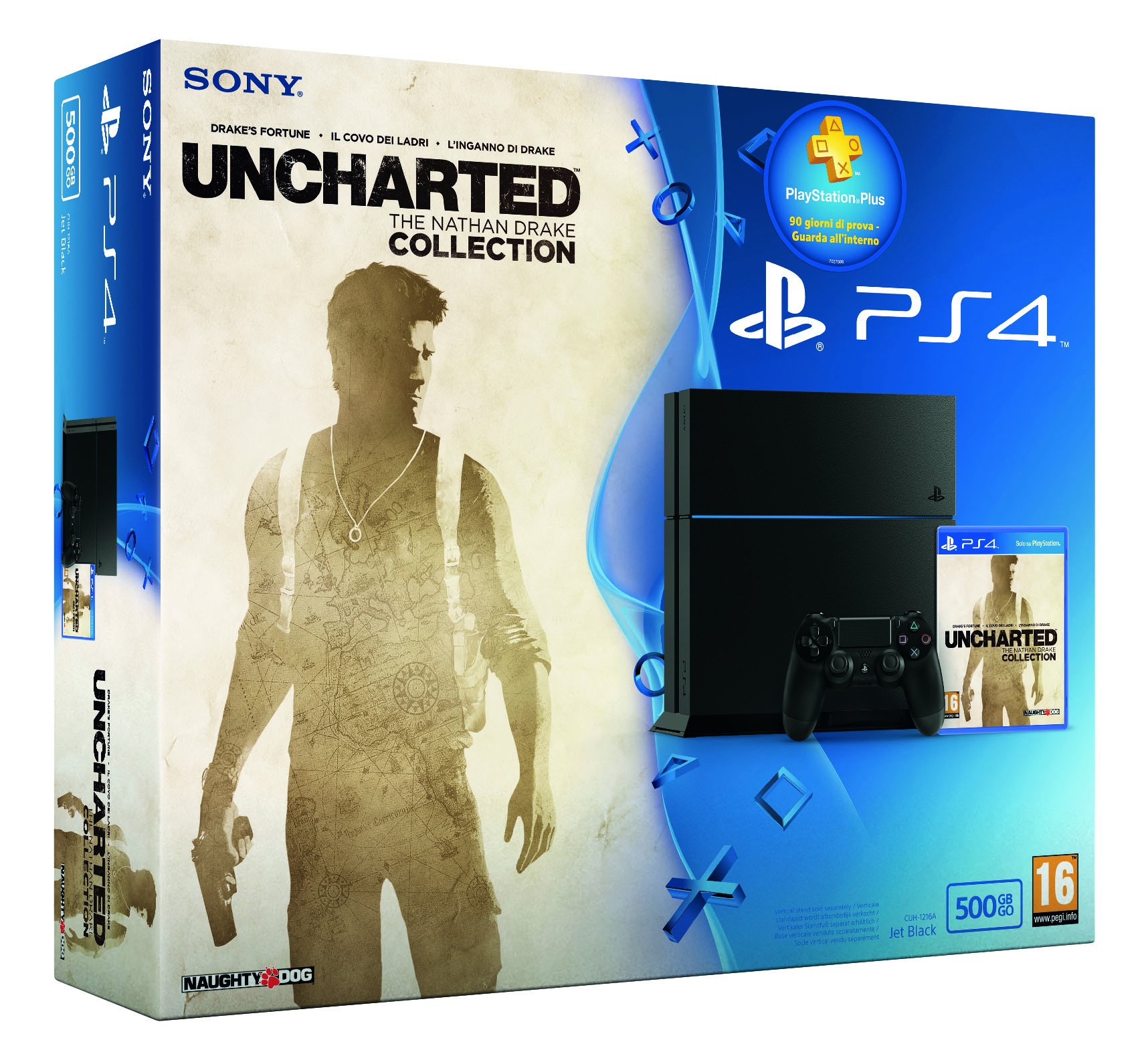 PlayStation 4, C Chassis, 500 GB + Uncharted Collection + Plus Card 3 mesi [Bundle]