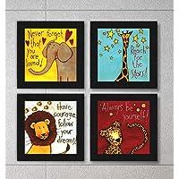 SAF Set of 4 Animal Design Motivational UV Coated Home Decorative Gift Item Framed Painting 19 inch X 19 inch SAF_SET4_8