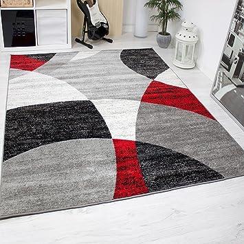 tappeto soggiorno camera letto geometrica motivo a cerchi erica in ... - Soggiorno Bianco Nero E Rosso 2