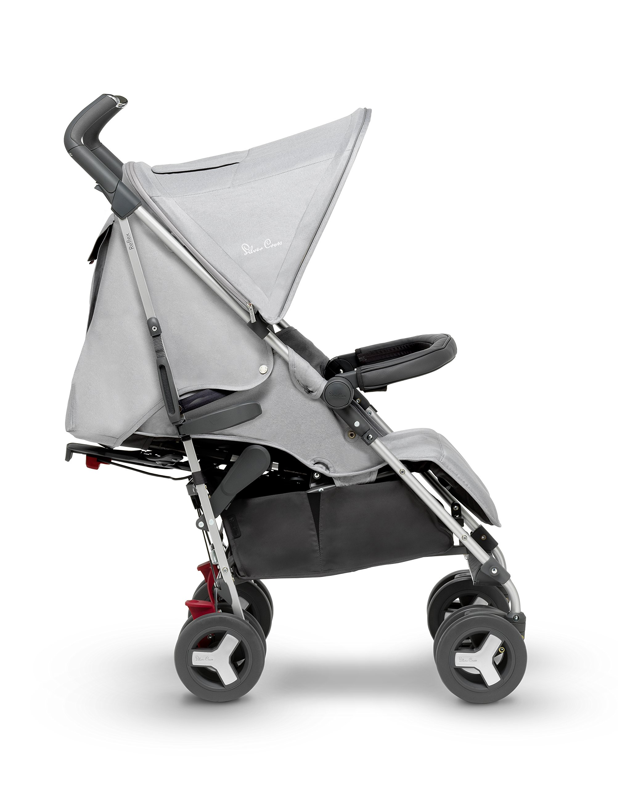 Silver Cross Reflex Stroller, Platinum Silver Cross Reflex is an advanced stroller, suitable from birth up to 25kg, with a wealth of features 5-point Harness Combine with Silver Cross Simplicity Car Seat to create a convenient Travel System 1
