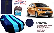 Auto Pearl Tripple Stitched Cyan and Blue Matty Car Body Cover with Mirror Pockets, Buckle Belt & Carry Bag for - Tiago