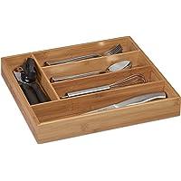 Relaxdays 10032176 Range-Couvert, 5 Compartiments, Bambou, Petit Organiseur de tiroir pour ustensiles, HLP 5 x 30 x 34…