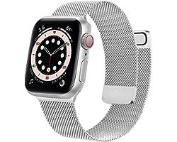 Wanme Correa Compatible con Apple Watch Correa 38mm 40mm 42mm 44mm, Pulsera de Repuesto de Metal de Acero Inoxidable para iWa