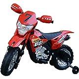 homcom Moto da Cross Elettrica con Rotelle Bambini 109 × 52.2 × 70.5cm Rosso