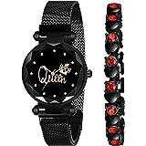 CERO Black Magnet Strap Analogue Women's and Girls Watch Sweet Heart Black Bracelet Combo for Girl's & Women's Watch (Set of