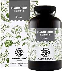 Magnesium Komplex – Hochdosiert mit 400mg elementarem Magnesium pro Tagesdosis (2 Kapseln). Komplex aus Tri-Magnesium Dicitrat, Magnesiumoxid, Magnesiumbisglycinat, Magnesiummalat, Magnesiumscorbat. 180 Kapseln. Vegan, hergestellt in Deutschland