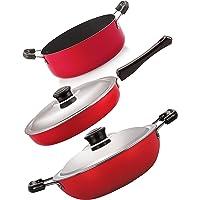 Nirlon Gas Compatible Fry Pan Kadhai Casserole Cookware Combo Gift Set