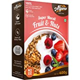 Alpino Super Muesli Fruit & Nuts 400 G | 100% Whole Oats & Whole Grain | Finest Nuts & Raisins | Real Freeze-Dried Fruits | N