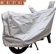 Autofact Silver Matty Bike Cover for TVS WEGO 110 (Dust Proof, Scratch Proof, Mirror Pockets, Heavy Buckle)