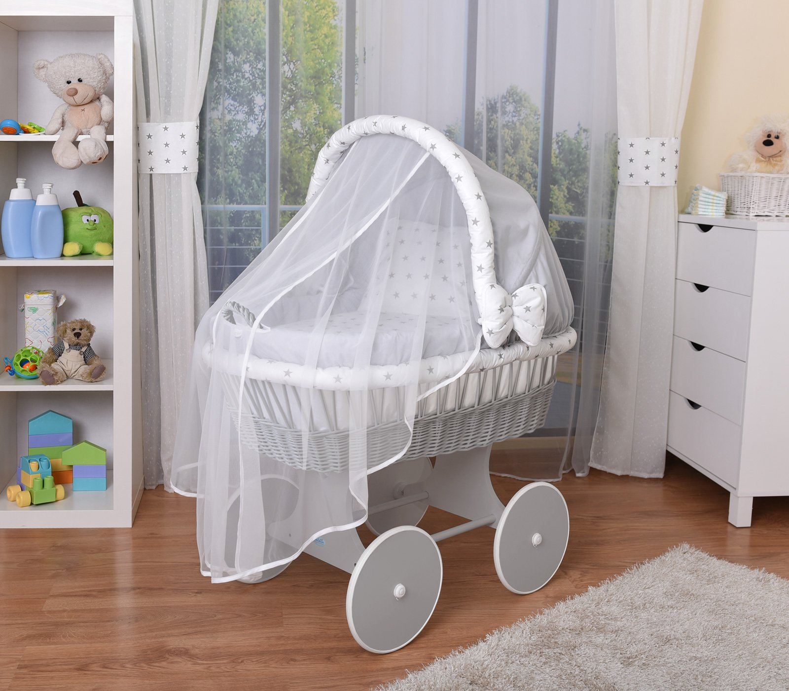 WALDIN Baby Wicker Cradle,Moses Basket,44 Models Available,Grey Painted Stand/Wheels,Textile Colour Grey/Grey Stars  For more models and colours on Amazon click on WALDIN under the title Bassinet complete with bedding and stand Certified to safety standard EN 1130-1/2 2