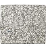 Linen & Cotton - Mantel Tela HERCUS, Rectangular en Damasco - 53% Lino, 47% Algodón (Blanco/Gris, 133 x 133cm)