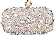 GESU Womens Beaded Crystal Clutch Evening Bag Wedding Bridal Prom Purse.