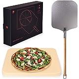 Blumtal - Pierre A Pizza - Pierre Refractaire Four - Kit à Pizza Complet - Pierre et Pelle à Pizza - Haute Qualité, Utilisati
