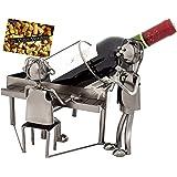 BRUBAKER Portabottiglia da Vino dal Raffinato Design Amanti Al Pianoforte - Portabottiglie per Vino in Metallo con Biglietto