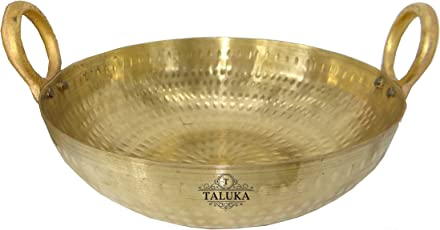 Taluka Brass Hammered Kadhai for Cooking/Serving - 2500ml, Gold(10x3-inches)