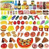 joylink Alimentos de Juguete, 139pcs Comida Cocina Juguete Set Cortar Frutas Verduras Pizza Juego de Plástico para Niños, Jug