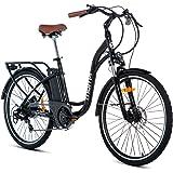 Moma Bikes Bicicleta Electrica Aluminio, Shimano 7V, Frenos de Disco hidráulicos Batería Litio 36V 16Ah