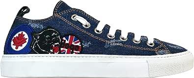 Dsquared Scarpe Uomo Sneakers in Tessuto S17SN116 1246 3085 Blu Denim Lavato + Patch