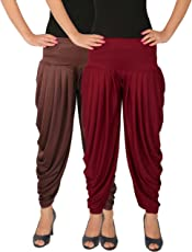 Culture the Dignity Women's Lycra Indo Western Side Plated Dhoti Patiala Salwar Harem Pants Combo Pack of 2 - C_SP_DH_F$