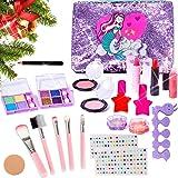 MEIRUIER 23pcs Kit de Maquillaje Niñas,Juguetes para Chicas, Cosméticos Lavables, Regalo de Princesa para Niñas en Fiesta,Cum