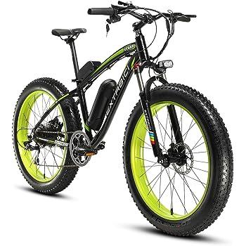 Cyrusher Extrbici XF660 Verde Negro 48V 500 vatios Bicicleta eléctrica para hombre de la bici verde de la bicicleta de la velocidad 7 de las bicicletas ...