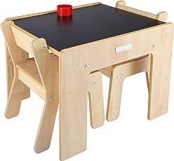 Little Helper FSD02-5 FunStation Duo Kleikind Tisch und 2 Stühle Set mit Stiftehalter, 24 m Plus, Natur / tafel