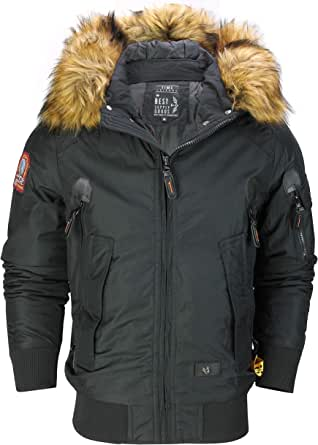 Mens Warm Padded Heavyweight Winter Jacket Military Style Bomber Thick Fur Trim Hooded