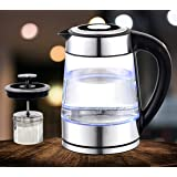 Upscale Digital Electric Glass Kettle- Adjustable Temperature, Keep Warm Function, 1.7 Litre Capacity, Tea & Coffee Maker wit