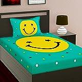 Amazon Brand - Umi. 100% Cotton 104 TC Emoji Print Single bedsheet with 1 Pillow Covers (Green)