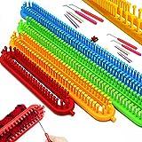 Katech Kit Tricotin Rectangulaire, 4 Pièce Différentes Tailles Multifonctionnel Long Métier à Tricoter en Plastique et Outils