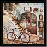 ArtX Paper Vintage City Street Abstract Wall Art Framed Painting Multicolor, 13 in x 13 in, Synthetic Wood