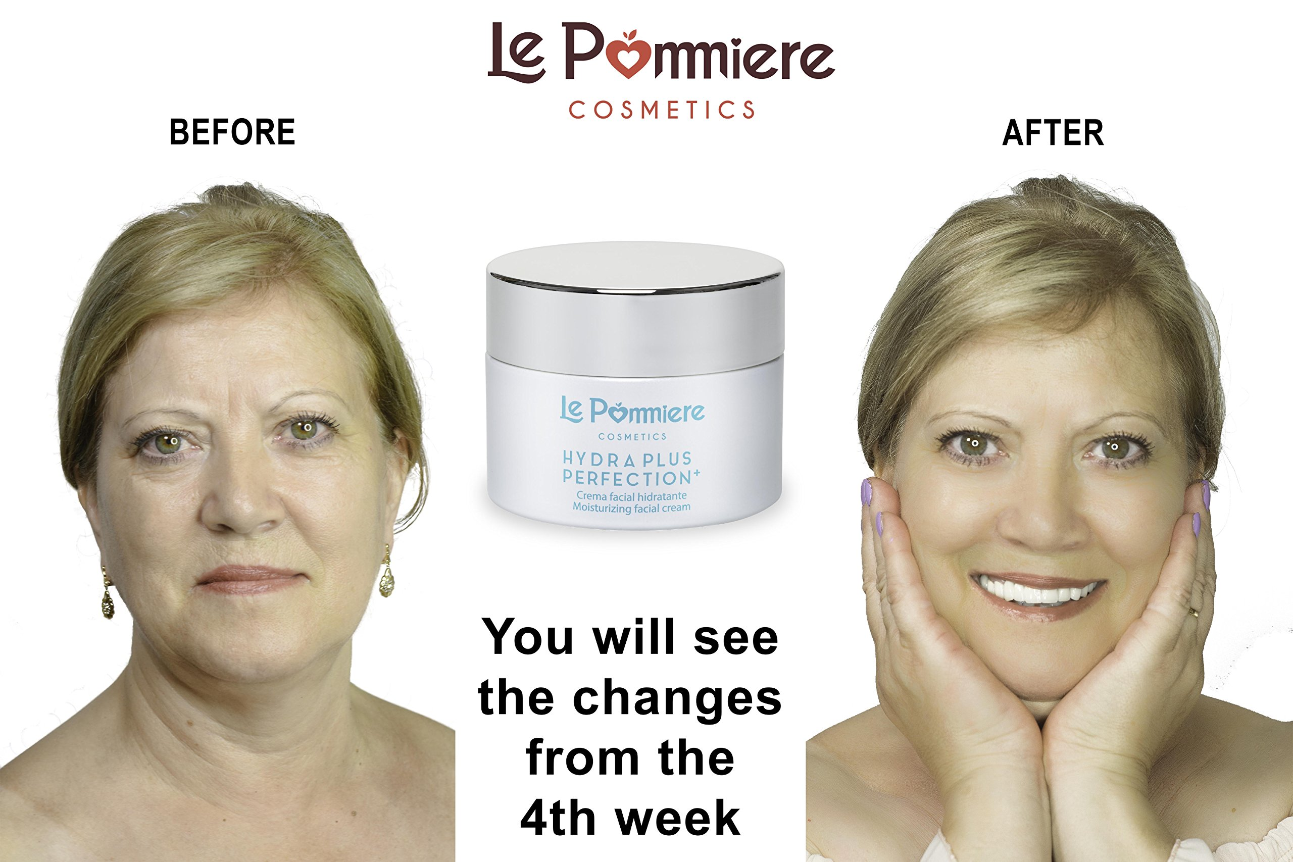 Le Pommiere crema nutritiva hidratante antiedad 50ml. Antiarrugas ácido hialurónico, colágeno, aloe vera. Vitamina A retinol, C, E. Tratamiento facial anti envejecimiento. Hombre & mujer. SPF 15