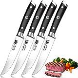 SHAN ZU Couteaux à Steak, Couteaux de Table 4 Pièces, Set Couteaux a Steack Acier Inoxydable Allemand, Coffret Couverts de Ta
