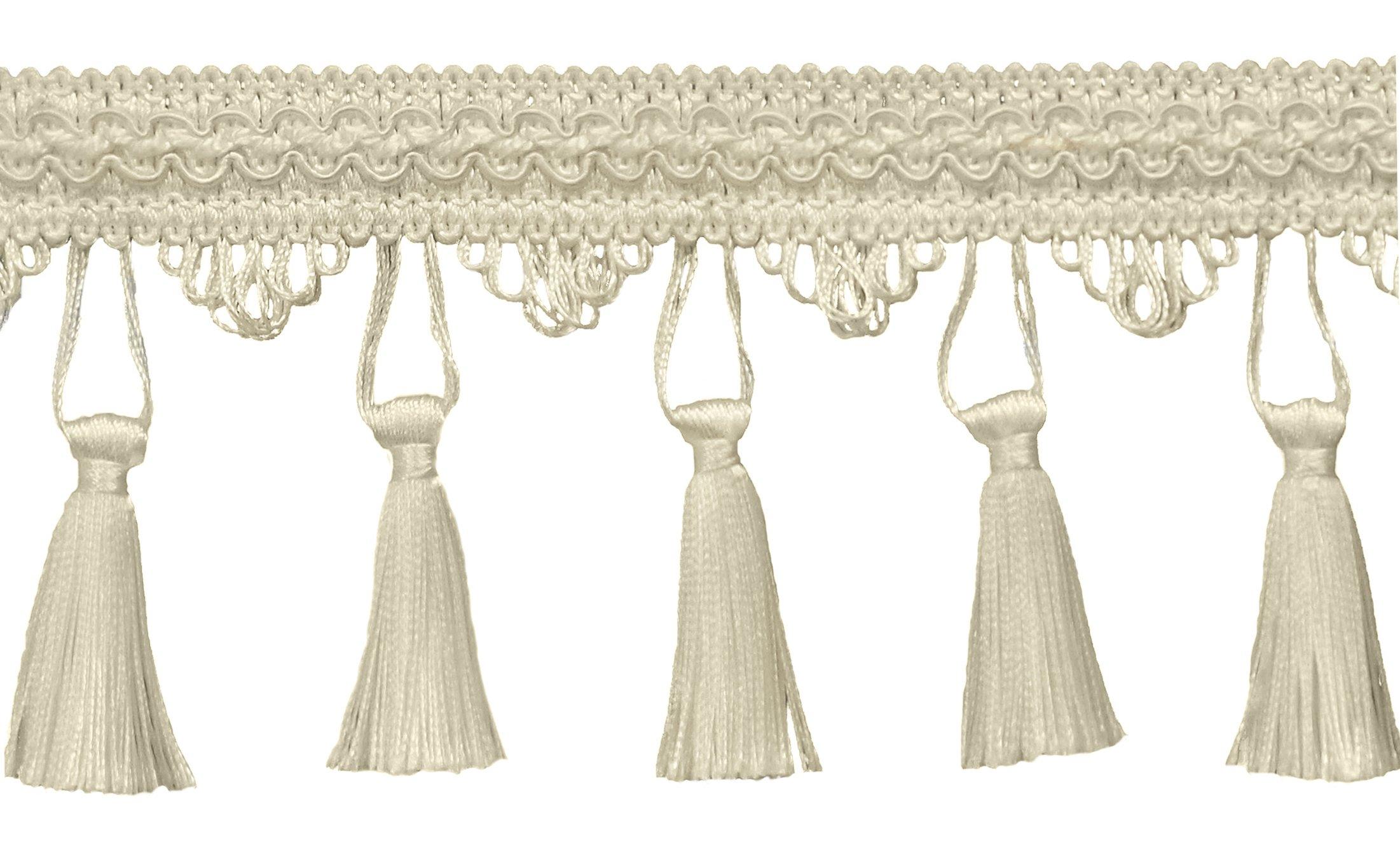 10,2�cm frangia Trim, Style # STF colore: Bianco���A1,, venduto al metro