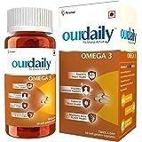 Ourdaily Omega 3 Fish Oil Double Strength 1000 mg Omega (330mg EPA, 220mg DHA- per serving) from Piramal, for immunity, brain