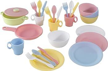 KidKraft 63027 27-teiliges pastellfarbenes Küchen-Spielzeugset mit Kindergeschirr - Zubehör für Kinder-Spielküchen