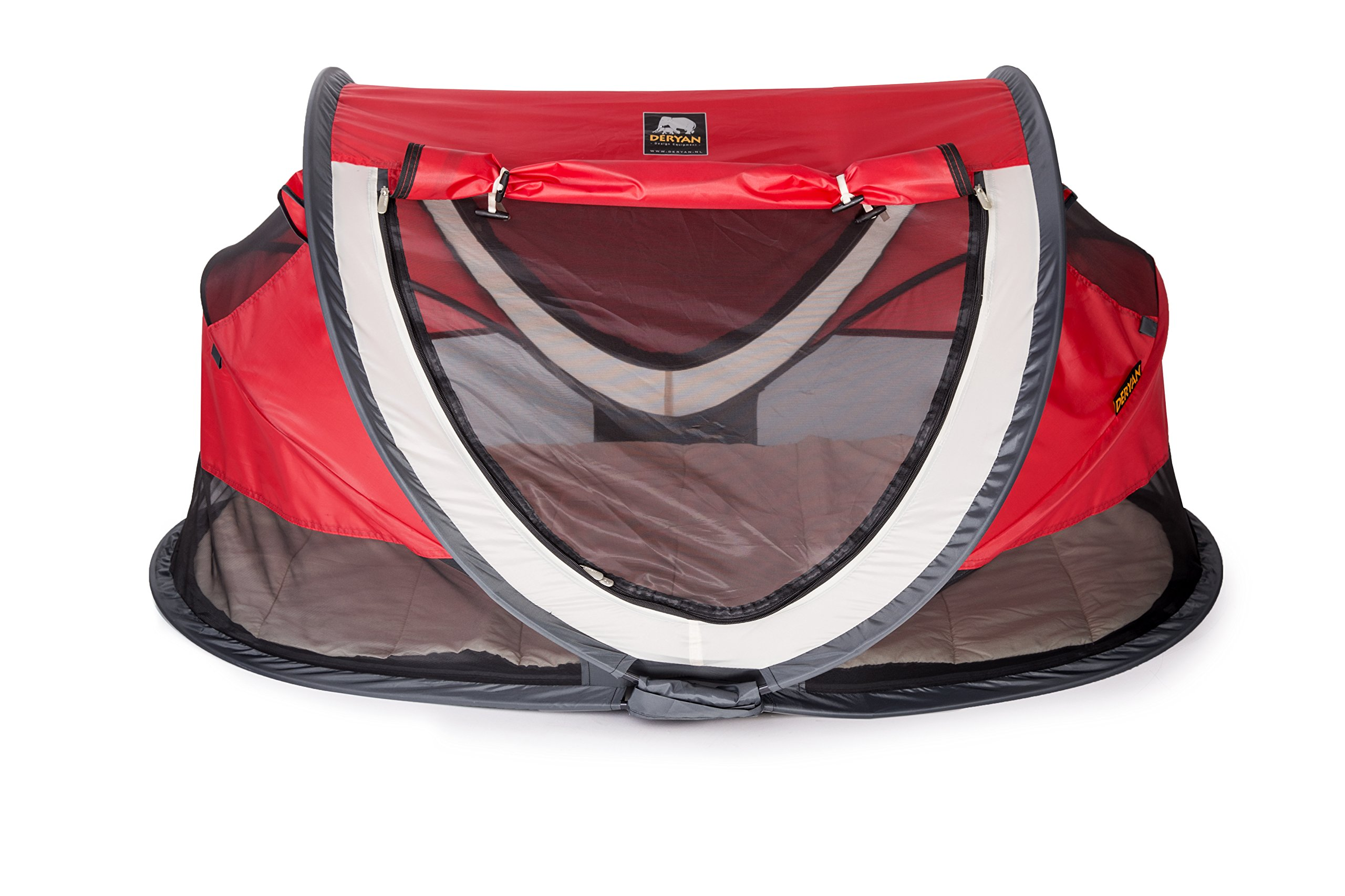 Travel Cot Peuter Luxe (Red) Deryan Perfect for the beach, the park or the back garden for playing in or for naps Can Pops up immediately, no poles or fiddly frames to put together. Lightweight and compact in its zip up bag 1