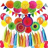 Zerodeco Décoration de fête Fournitures, 21 Pièces Papier Pompoms Fleurs, Eventail Boule, Banderole en Triangle, Ventilateur