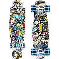 """GORIFEI 22""""55 cm Mini Cruiser Skateboard Retro Tavola Completa Altamente Flessibile per Bambini Ragazzi Giovani…"""