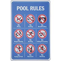 Monifith Pool Rules Sign No Diving No Pushing No Running No Peeing for Commercial Swimming Pools Yard Signs 8X12 Inch