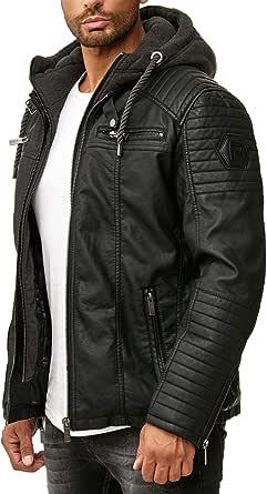 Red Bridge Men's Faux Lether Jacket Transition Biker Jacket with Hooded Modern 2in1