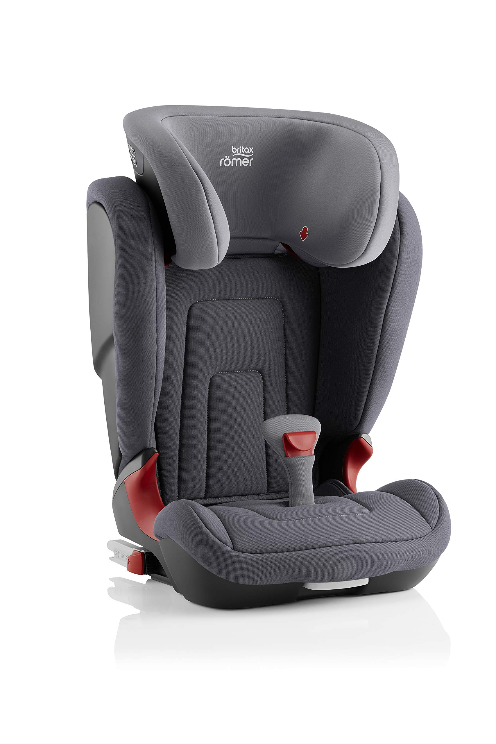 Britax Römer car seat 15-36 kg, KIDFIX 2 R Isofix group 2/3, Storm Grey Britax Römer Secure guard - helps to protect your child's delicate abdominal area by adding an extra - a 4th - contact point to the 3-point seat belt. High back booster - protects your child in 3 ways: provides head to hip protection; belt guides provide correct positioning of the seat belt and the padded headrest provides safety and comfort. Easy adjustable v-shaped backrest - designed to give optimum support to your growing child, the v-shaped backrest provides more space for their back and shoulders. 3