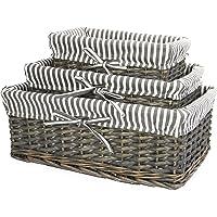 Panier en osier gris   Doublure rayée incluse   Rangement pour salle de bain, maison et buanderie   Organisateur en bois…