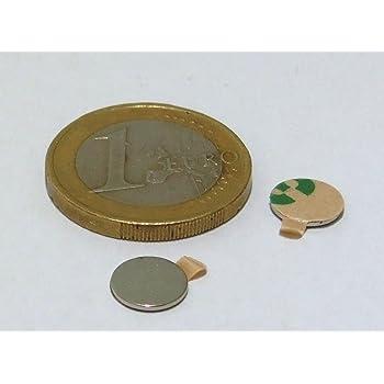 20 Neodym-Magnete 8 x 0,75 mm rund - selbstklebend