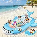OOWOLF Wal Sprinkle Splash Pad, Aufblasbar Sprinkler Pool , Wasser Splash Play Matte,Sommer Garten Sprinkler Wasser-Spielmatt