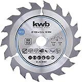 kwb 581857 Span-Platten Kreissäge-Blatt, Holz-/Hartholz, 130 x 16 mm, saubere Schnitte, mittlere Zahl, 18 Zähne Z-18, CleanCut Sägeblatt mittel, 130 x 16