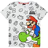 Super Mario Top de Camiseta Gris con Personajes para niños de Nintendo and Yosh