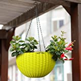 Story@Home Hanging Flower Pot, Plant Containers Basket with Hook Chain for Home Gardener Grower Planter Indoor/Outdoor Decoration - Neon Yellow